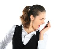 A woman shouting at a mobile phone Royalty Free Stock Photos