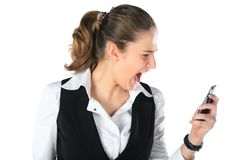 A woman shouting at a mobile phone Stock Photos