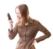 Woman shouting on phone. Young woman shouting on somebody calling her, isolated on white Stock Photo