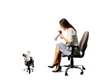 Woman shouting at small stressed man Royalty Free Stock Photo