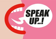 Woman shouting SPEAK UP in word bubble - protesting for rights of women, equality and inappropriate sexual behavior towards women. Hand drawn illustration in stock illustration