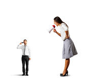 Woman shouting at stressed man Royalty Free Stock Photos