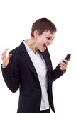 Woman shouting to a mobile Stock Photo