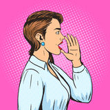 Woman shouts with hand pop art style vector Royalty Free Stock Photos