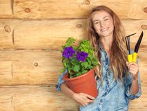 Woman in the garden Royalty Free Stock Photography