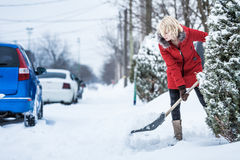 Woman Shoveling her Parking Lot Royalty Free Stock Images
