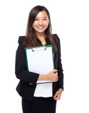 Woman show with blank paper of clipboard Stock Images