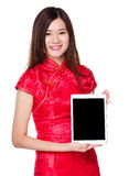 Woman show with blank screen of tablet Stock Photos