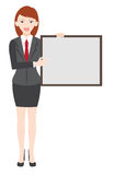 Woman show blank white board vector design. Stock Photo