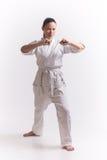 Woman show block in martial art exercise. Asian woman in kimono show block in martial art exercise Stock Photos