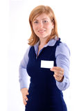 Woman show business card Royalty Free Stock Photo