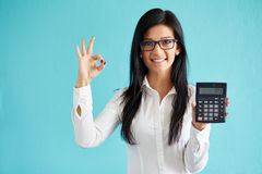 Woman show calculator Royalty Free Stock Image