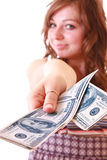 Woman show dollars to camera Royalty Free Stock Image