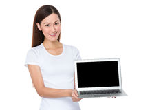 Woman show with the empty screen of notebook computer Stock Image