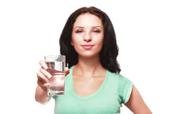 Woman show glass Stock Photography