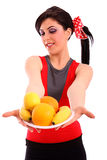 Woman show healthy diet Stock Photography
