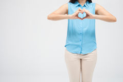 Woman show heart hands stock photo