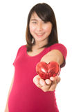 Woman show heart hands isolated Royalty Free Stock Image