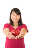 Woman show heart hands isolated Royalty Free Stock Photo