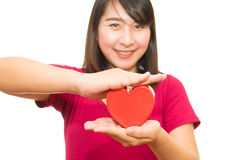 Woman show heart hands isolated Royalty Free Stock Photography