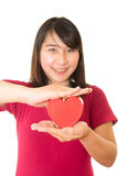 Woman show heart hands isolated Stock Image