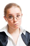 Woman show misunderstanding Stock Images