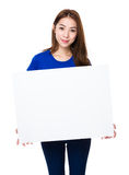 Woman show with palcard Stock Photography