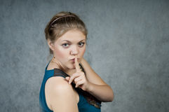 Woman show quiet sign Royalty Free Stock Image