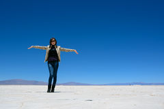 Woman show the  Salinas Grandes Stock Images