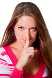 Woman show silence Stock Photography