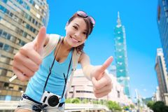 Woman show thumb up Stock Photography