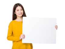 Woman show with white board stock images
