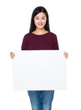 Woman show with white card Stock Photography