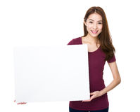 Woman show with whiter banner Royalty Free Stock Photography