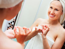 Woman after shower with cream Royalty Free Stock Photo