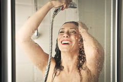 Woman in the shower Stock Photos