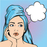 Woman after a shower thinking about something. Vector illustration in pop art comic style.  stock illustration