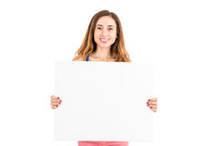 Woman showing advertising board Royalty Free Stock Photo