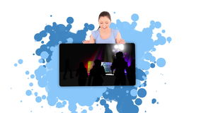 Woman showing an animated club stock video footage