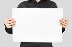 Woman showing banner Stock Photo