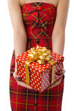Woman showing beautiful red gift box Royalty Free Stock Image