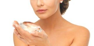 Woman showing big diamond Stock Photography