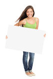 Woman showing billboard sign. Woman holding billboard sign smiling fresh. Caucasian / Asian woman isolated on white background in full figure Royalty Free Stock Photography