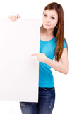 Woman showing billboard sign Stock Image