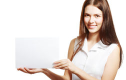Woman showing blank Stock Photos
