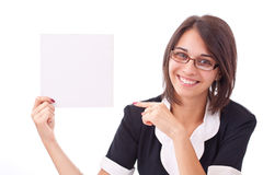 Woman showing a blank board Stock Images
