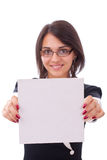 Woman showing a blank board Royalty Free Stock Photos