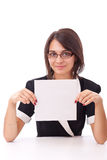 Woman showing a blank board Stock Photography