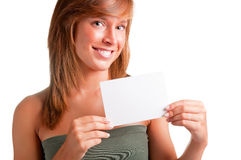 Woman Showing Blank Business Card Royalty Free Stock Photos