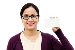 Woman showing blank business card Stock Image